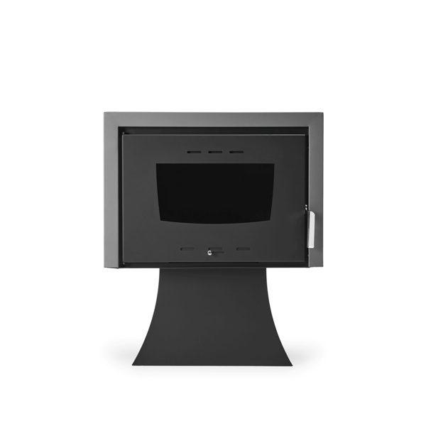 Estufa de leña de diseño con radiador Platea