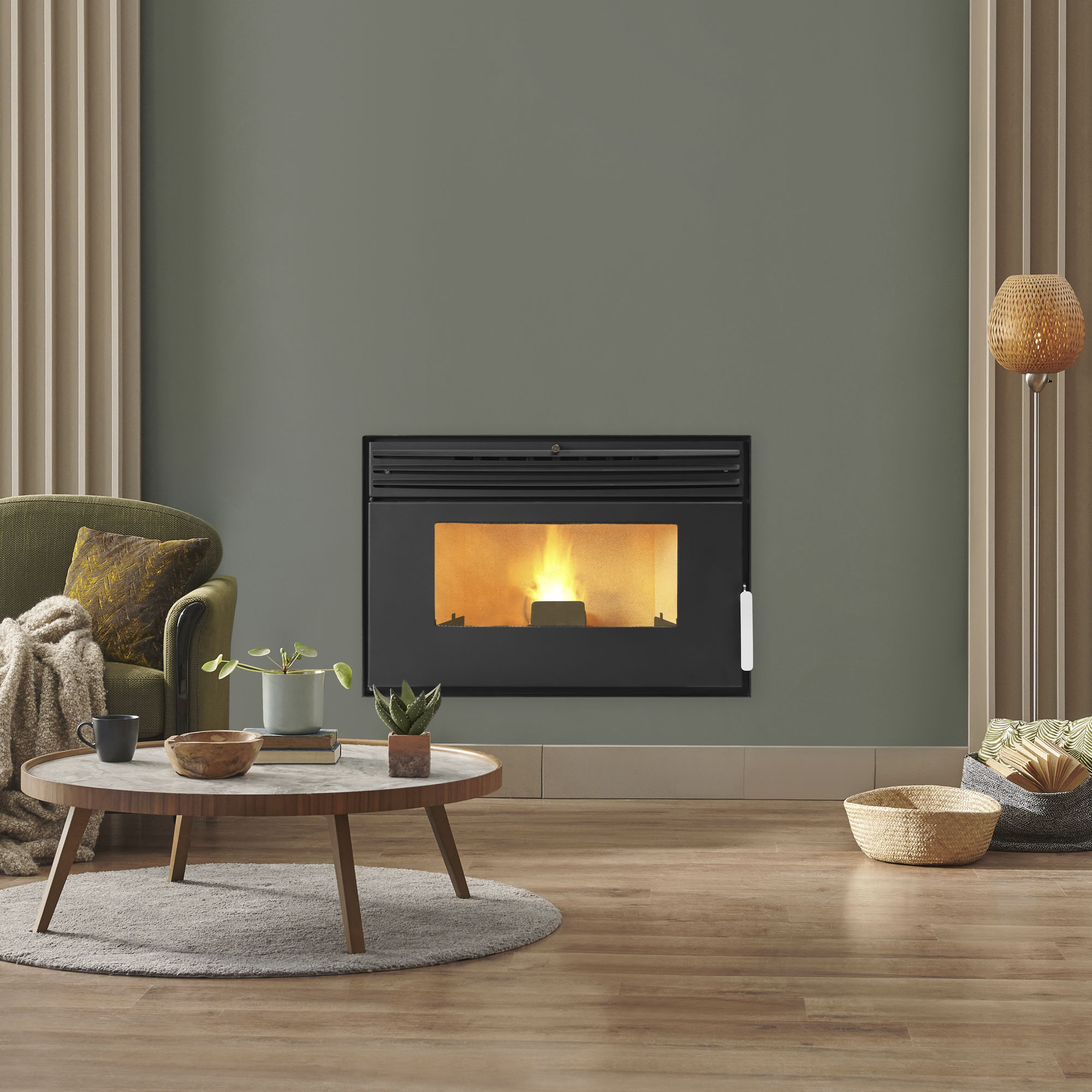 Modern Black Metal Fireplace Burning Wood Fire. Firewood in Loft Contemporary Apartment on White Wall Background Vertical View. Elegant Comfort Decoration for Residential Estate. Blaze in Living Room
